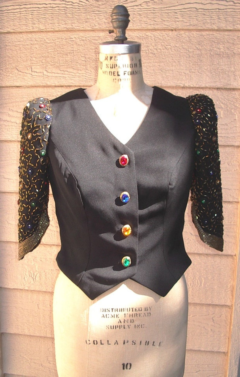Jeweled Sleeve Tissue Faille Bodice/Satin lined Jeweled image 0