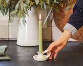 Half Baked Harvest x Etsy x Stuck in the Mud Pottery: White Ceramic Candlestick Holder with Handle - MADE TO ORDER