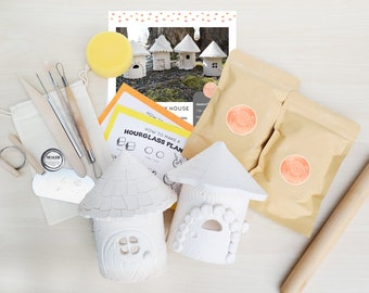 Clay Pottery Kit for 2 - Craft Your Own DIY Fairy House at Home with Air Drying Clay