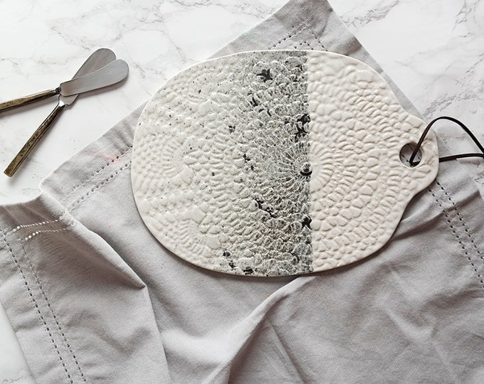 Large Charcuterie Board - White + Black Speckle cheese appetizer serving platter