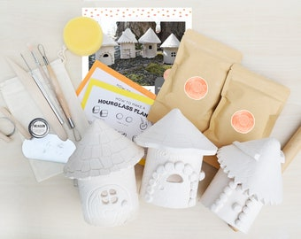 Clay Pottery Kit for 3 - Craft Your Own DIY Fairy House at Home with Air Drying Clay
