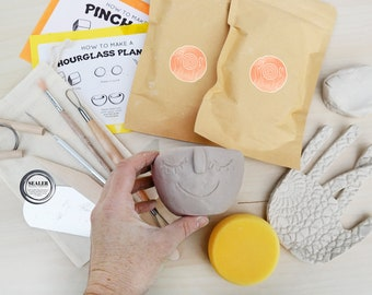 Family Pottery Kit for 4 - Make Your Own Air Dry Clay Projects At Home