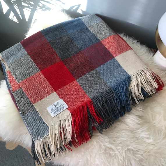 XL Vintage Plaid Check Color Block Tweed 100% Wool