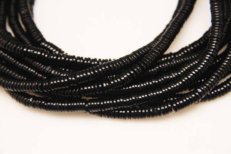 1strand natural black agate plain tire rondel sized 6.5mm