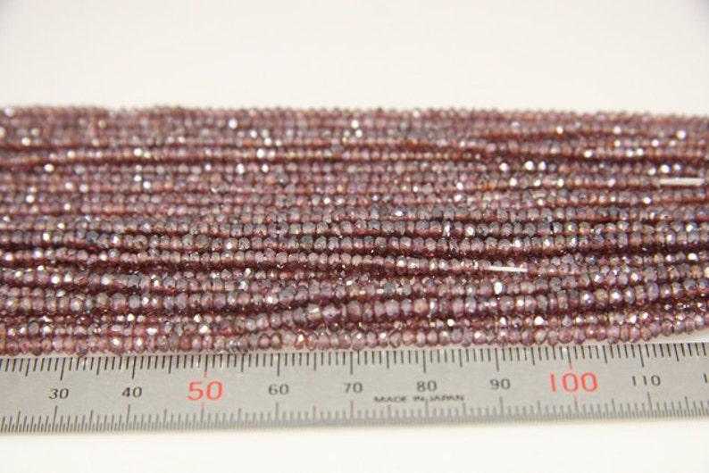natural rhodolite garnet coated faceted rondel sized 3mm 1strand