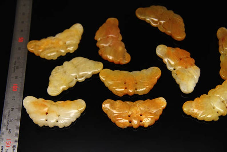 natural yellow jade butterfly sized 53 by 25mm 4pcs