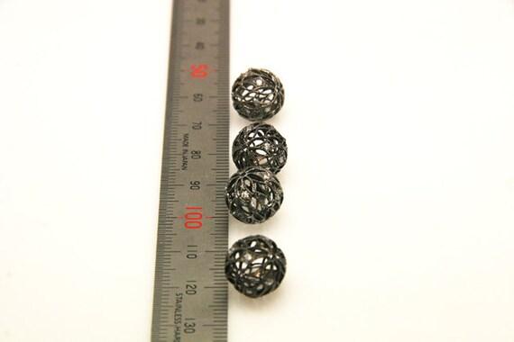 2pcs - ball lustre mash en argent sterling taille lustre ball plaqué de 12mm noir avec cz 52d0e4