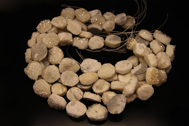 natural white agate rough oval 1strand