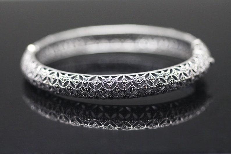 sterling silver bracelet with marcasite tbrs-0174 1pcs