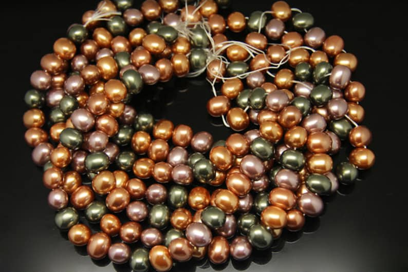 1strand shell pearl plain oval colored mixed color