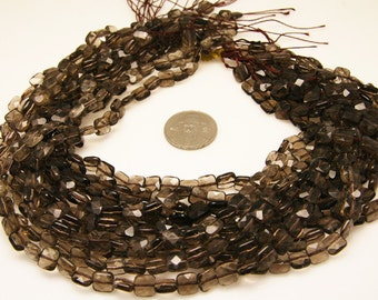 1strand - natural smoky quartz faceted square sized 8 by 8mm