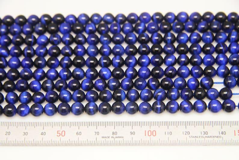 1strand natural blue tigers eye plain ball sized 8mm