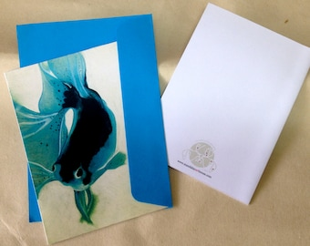 Fish art card in Turquoise Blue - blank inside