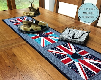 Union Jack Patchwork Table Runner PDF Quilt Pattern
