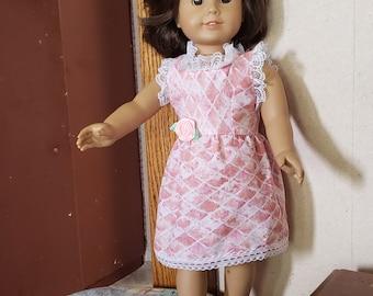 Lattice Print Dress for Dolls such as American Girl