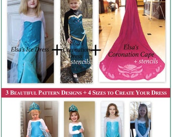 Elsa Frozen Complete PDF Pattern Set for Ice Dress Coronation Dress and Coronation Cape (Including 8/9 for Elsa Ice Dress Only)  sc 1 st  Etsy & Items similar to Halloween Costume Pattern for Elsa Frozen ...