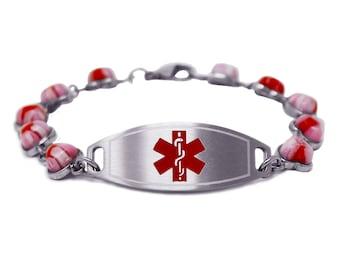 Black i1C-YR3 Round Millefiori Glass Custom Engraved Medical Bracelet
