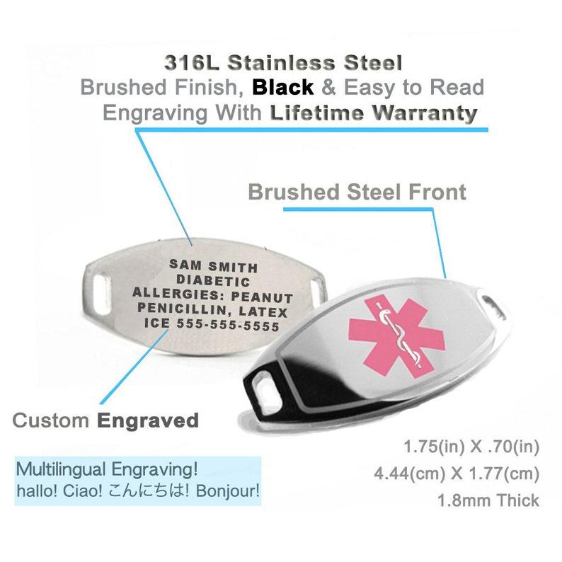 Medical Alert ID Bracelet Custom ENGRAVED FREE Pink i1C-BS1