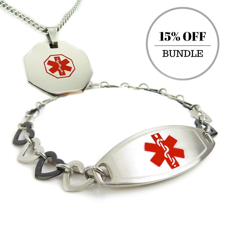 BD- i1R-B11 Stainless Steel -- Custom Engraved Medical Alert Black and Steel Heart Bracelet and ID Necklace P1R-N27