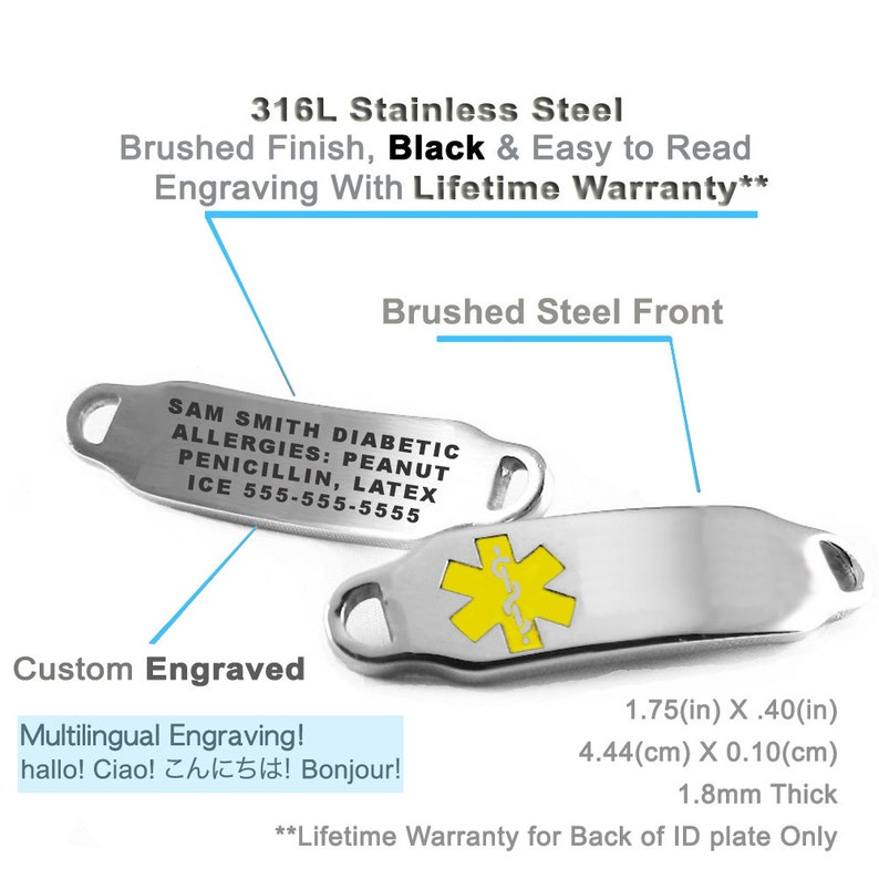 i2C-BS6 Free Engraving Yellow HEART CHAIN Custom Medical Bracelet