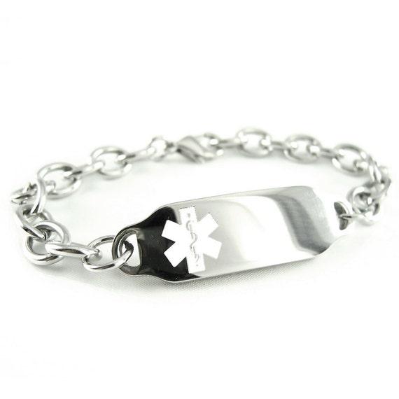 7.75 Stainless Steel Heart Link Medical ID Bracelet