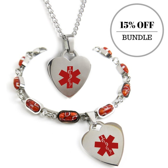 BD- i2R-YR7 P5R-N27 -- Medical Alert Millefiori Glass Heart Bracelet and Heart ID Necklace Custom Engraved Stainless Steel