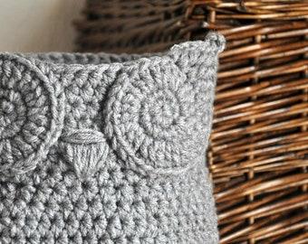 Grey Owl Basket Crocheted Bin Yarn Holder Woodland Nursery Decor Home Organizer Custom Colors