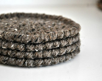 Barley Coasters Modern Mug Rugs Home Decor Rustic Design Crocheted Accessories Custom Colors