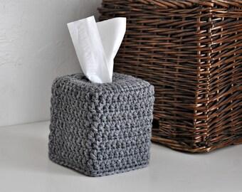Bulky Knit Design Tissue Box Cover Nursery Decoration Rustic Home Decor Custom Colors