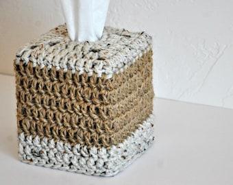 Modern Square Jute Tissue Box Cover Nursery Decoration  Natural Home Decor Kleenex Box Cover