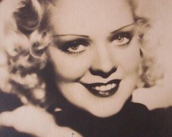 1940s Alice Faye Signed 5 x 7 Sepia Photograph