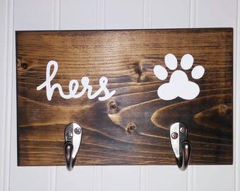 Dog Leash Hanger, Gift for Her, Wall Hooks, Key Hook, Key Holder, Leash Hook, Collar Hook, Leash Holder, Collar Holder, Wood Sign
