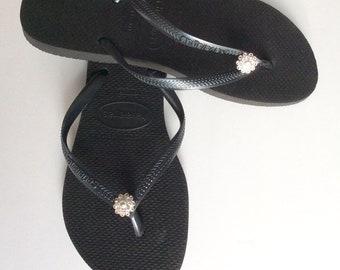 8dd417c6f8cc Havaiana Slim Black Flip Flop Sandal with Swarovski Crystal Flower