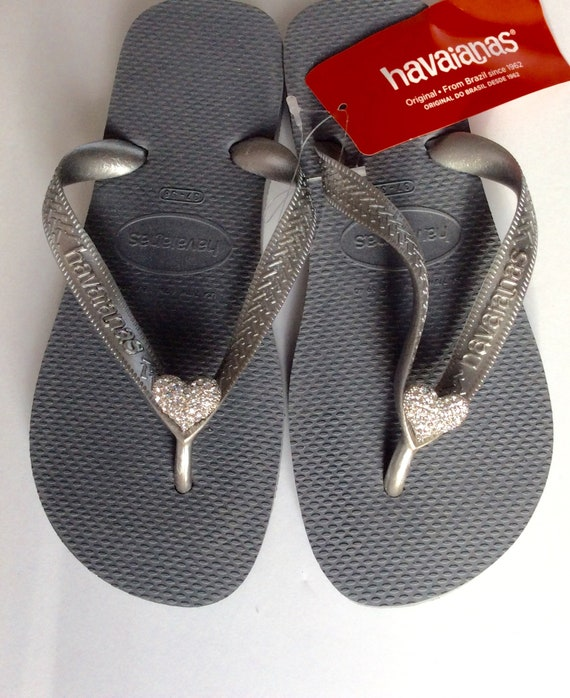 f8c07676ccdfc3 Havaiana SILVER Metallic Crystal Flip Flops with clear