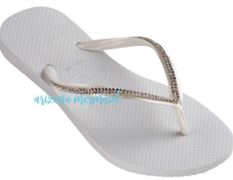 205513aca Swarovski Crystal Mesh Havaiana Bridal Flip Flops Wedding