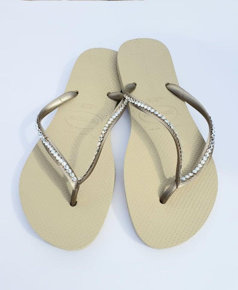 3a2f417e95a0 Swarovski Crystal Havaiana Flip Flops Nude Metallic Slim