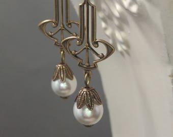 Art Deco Pearl Earrings - Art Deco Jewelry - Pearl Jewelry - 1920s Jewelry - Downton Abbey Style - Jewelry for Bride - Womens Jewelry