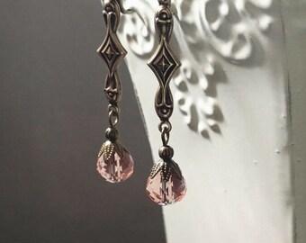 Lady Edith Earrings - Downton Abbey Style Jewelry - Art Nouveau Earrings - Dainty Earrings - 1920s Wedding - Womens Jewelry