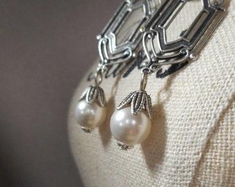 Art Deco Wedding Earrings - 1920s Bridal Jewelry - Pearl Earrings - Silver Earrings - Great Gatsby - Downton Abbey Style - Womens Jewelry