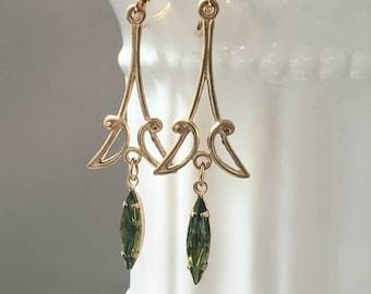 Art Deco Olivine Earrings - 1920s Art Deco Jewelry - 1920s Earrings - Art Nouveau Style - 1930s Flapper Jewelry