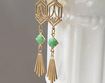 Green and Gold Art Deco Earrings - 1920s Art Deco Jewelry - 1920s Earrings - Flapper Jewelry - Vintage Style