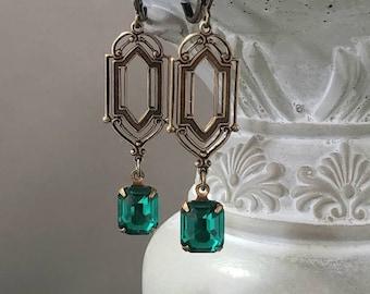 Emerald Green Art Deco Earrings - 1920s Art Deco Jewelry - Vintage Style Crystal Earrings - Flapper Jewelry - 1920s Bride