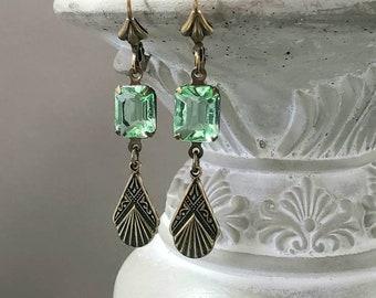 Peridot Green Art Deco Earrings - Delicate Dangle Earrings - 1920s Art Deco Jewelry - Flapper Jewelry - Vintage Style