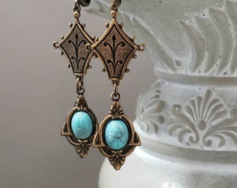 1920/'s Costume Jewelry Vintage Tiered Detailed Egyptian Revival Clip On EARRINGS Gift For Her on Etsy