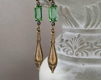 Peridot Green Art Deco Earrings - 1920s Art Deco Jewelry - 1920s Earrings - Flapper Jewelry - Delicate Dangle - Vintage Style