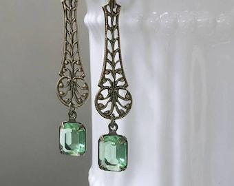 Peridot Green Art Deco Earrings - 1920s Art Deco Jewelry - 1920s Earrings - Edwardian Style Jewelry - Vintage Style