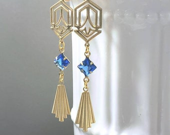 Blue and Gold Art Deco Earrings -  1920s Art Deco Jewelry - 1920s Earrings - Jewelry for Flapper Dress - Vintage Style