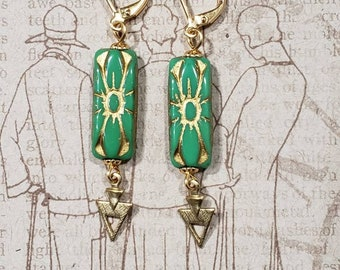 Green and Gold Art Deco Earrings - 1920s Art Deco Jewelry - Egyptian Revival Jewelry - Scarab Earrings - Vintage Style