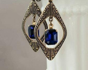 Blue and Gold Art Deco Earrings - 1920s Art Deco Jewelry - 1920s Earrings - Flapper Jewelry - 1930s Vintage Style