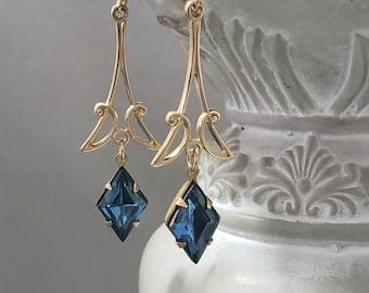 Blue and Gold Art Deco Earrings - 1920s Art Deco Jewelry - 1920s Earrings - Flapper Jewelry - Vintage Style